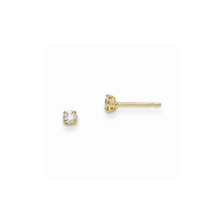 14k Yellow Gold Madi K 2.5mm Round CZ Basket Set Stud Earrings