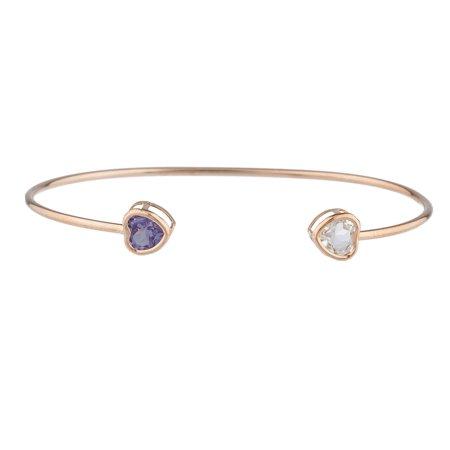 Aquamarine & Amethyst Heart Bezel Bangle Bracelet 14Kt Rose Gold Plated Over .925 Sterling Silver