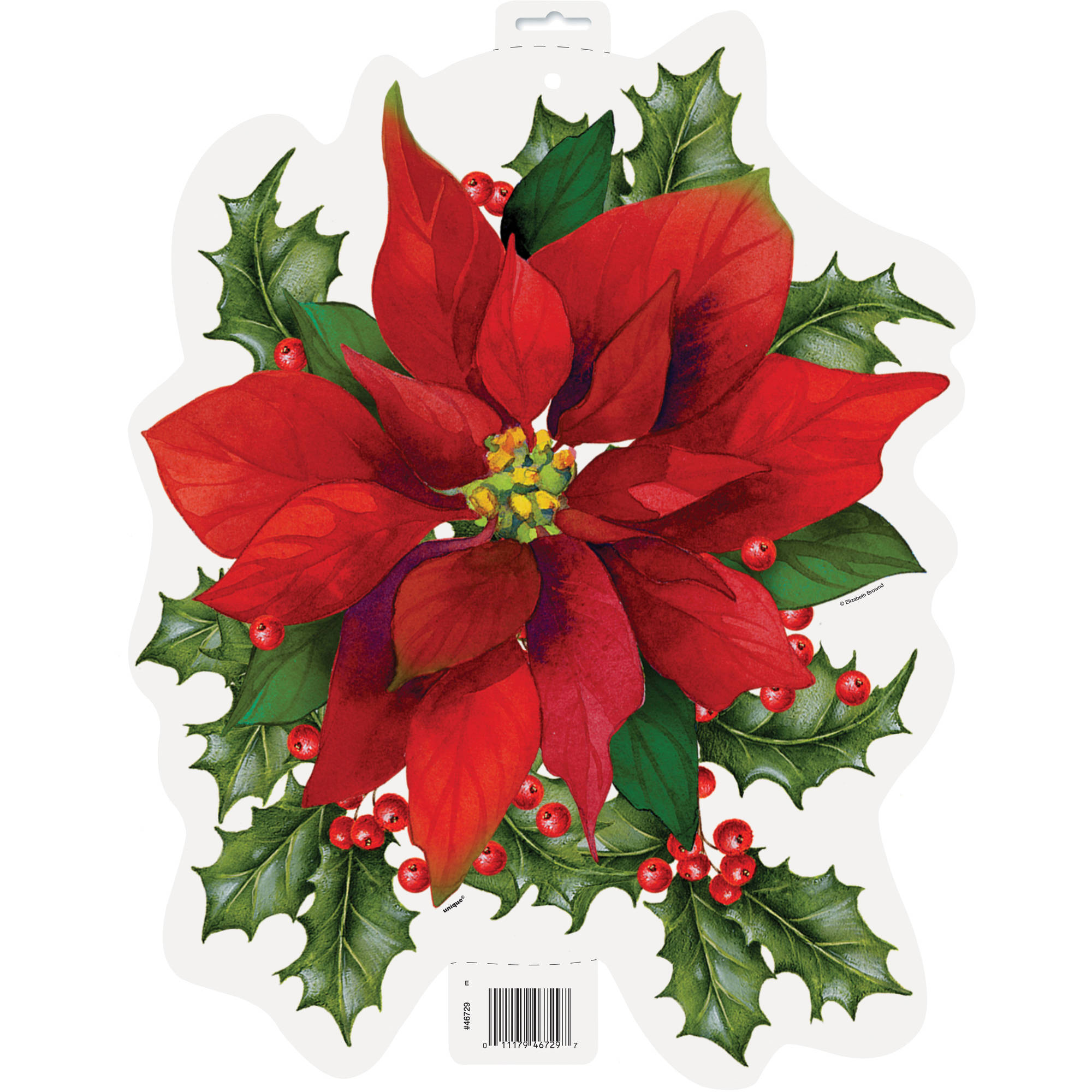 "16"" Paper Cutout Holly Poinsettia Holiday Decoration"