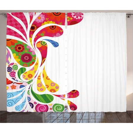 - Colorful Home Decor Curtains 2 Panels Set, Paisley Leaves with Floral Elements Inside Carnival Inspired Retro Design, Window Drapes for Living Room Bedroom, 108W X 84L Inches, Multi, by Ambesonne