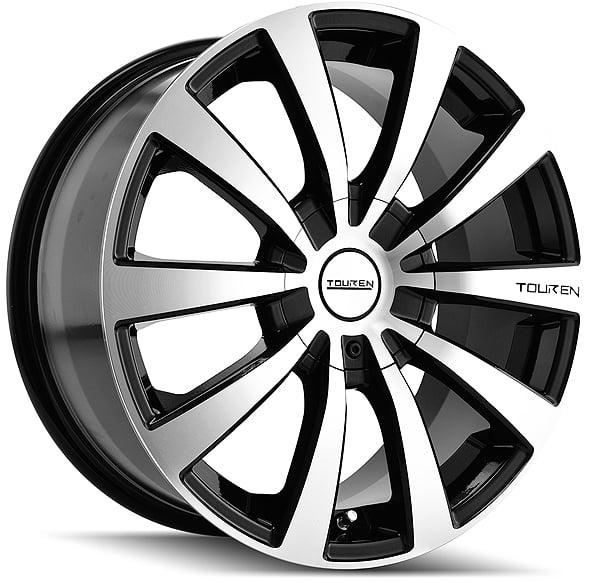 """16"""" Inch Touren TR3 16x7 4x100/4x114.3 +42mm Black/Machined Wheel Rim"""
