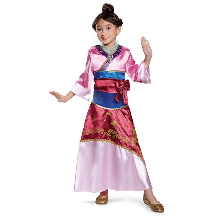 Mulan Deluxe Costume, Pink, Small (4-6X), Product includes: dress with character cameo and belt By Disguise - Mulan Costumes