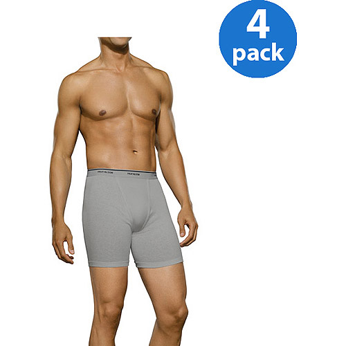 New Improved Fit! Fruit of the Loom Big Men's 4 pack Print Solid Boxer Briefs