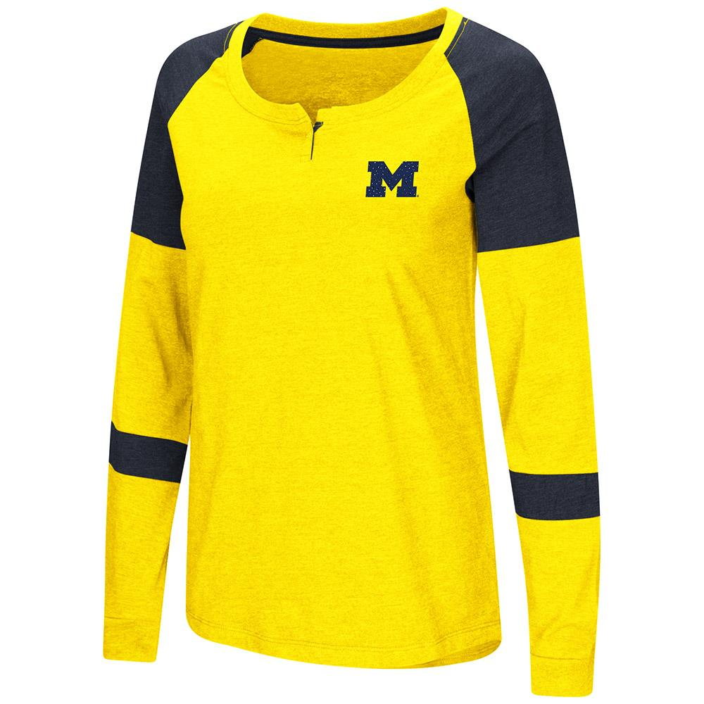 Womens Michigan Wolverines Long Sleeve Raglan Tee Shirt M by Colosseum