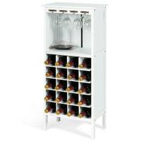Gymax 20 Bottles Wood Storage Cabinet Wine Rack Display Home Bar w/ Glass Holder White