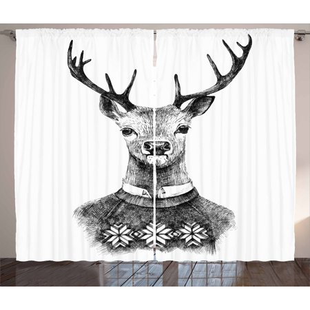 Indie Curtains 2 Panels Set, Hand Drawn Deer Portrait in a Nordic Style Knitted Sweater Hipster Christmas, Window Drapes for Living Room Bedroom, 108W X 96L Inches, Black Grey White, by Ambesonne