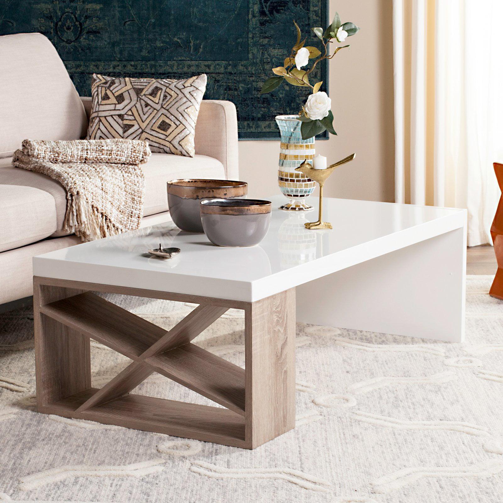 "Safavieh Carlton 47"" Width Modern Scandinavian Side Storage Lacquer Coffee Table, White/Light Grey"