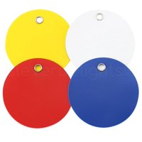 """100 Pack - CleverDelights Plastic Tags - 2"""" Round - Tear-Proof and Waterproof - 25 Pcs Per Color"""