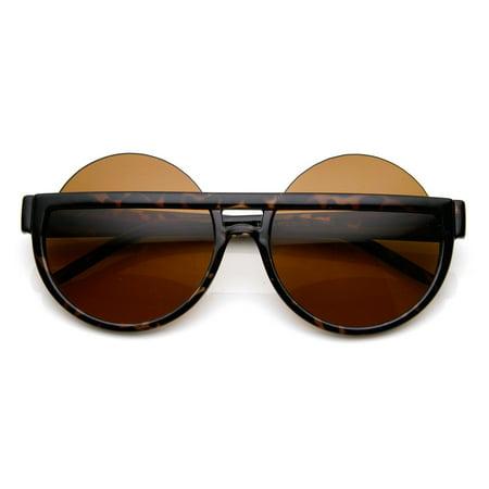 Big Mod Round Circle Half Frame Oversized Sunglasses - (Big Sean Circle Sunglasses)