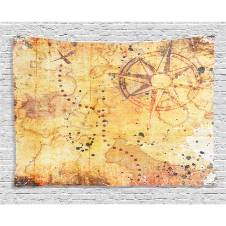 Island Map Decor Tapestry, Antique Treasure Map Grunge Rusty Style Parchment History Theme Boho Decoration, Wall Hanging for Bedroom Living Room Dorm Decor, 60W X 40L Inches, Beige, by Ambesonne