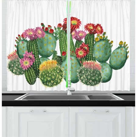 Cactus Curtains 2 Panels Set, Saguaro Barrel Hedge Hog Prickly Pear Opuntia Tropical Botany Garden Plants Print, Window Drapes for Living Room Bedroom, 55W X 39L Inches, Multicolor, by Ambesonne