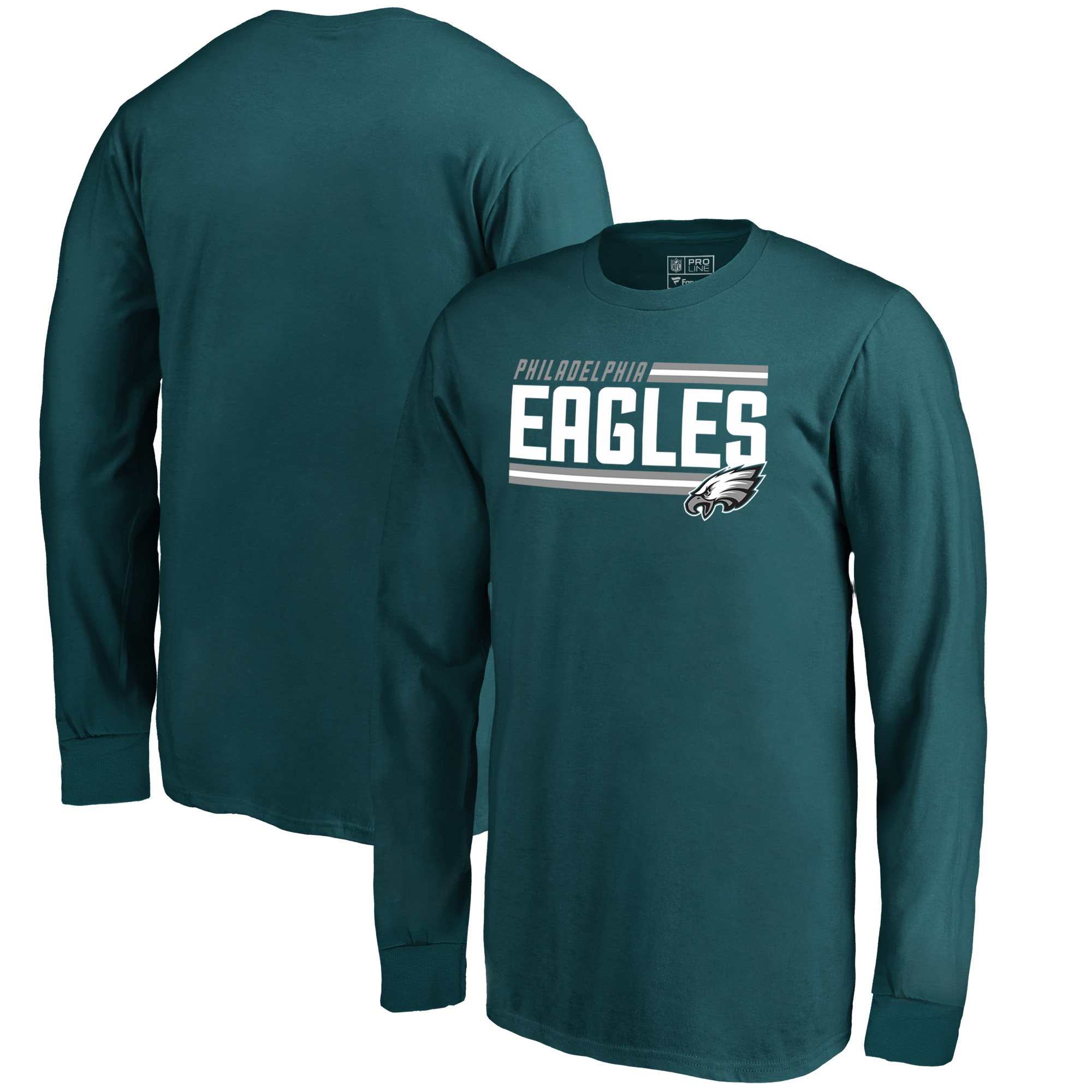 Philadelphia Eagles NFL Pro Line by Fanatics Branded Youth Iconic Collection On Side Stripe Long Sleeve T-Shirt - Midnight Green