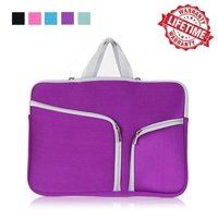 IClover 13 Inch Waterproof Thickest Protective Slim Laptop Case for Macbook Apple Samsung Chromebook HP Acer Lenovo Portable Laptop Sleeve Liner Package Notebook Case Bag Soft Purple Bag Case