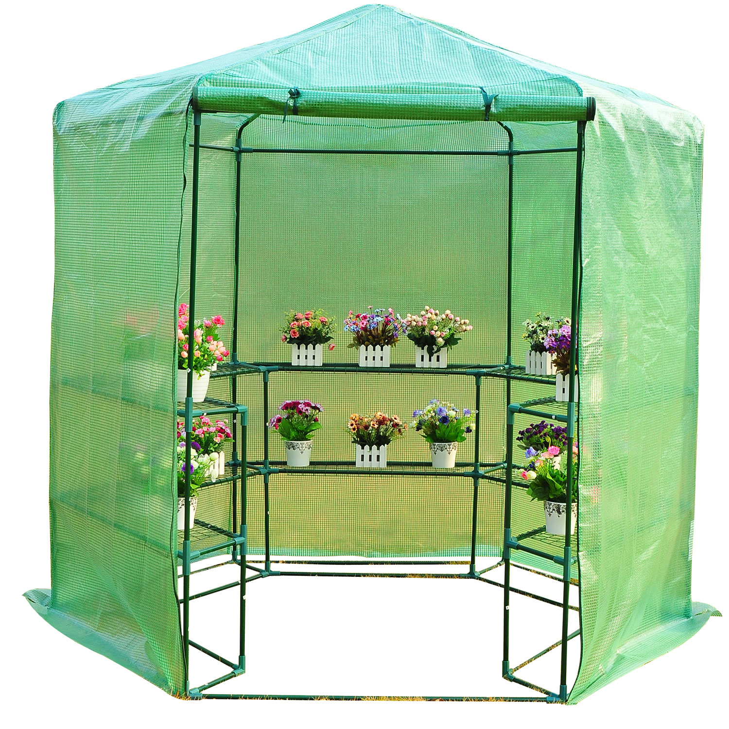 Outsunny 7.5u0027 Hexagonal 3 Tier Shelf Walk In Portable Greenhouse