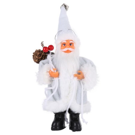 Santa Claus Outdoor or Indoor Plush Huggers Christmas Decoration, 8 in. Elegant White Frost Santa Claus with Lantern ()