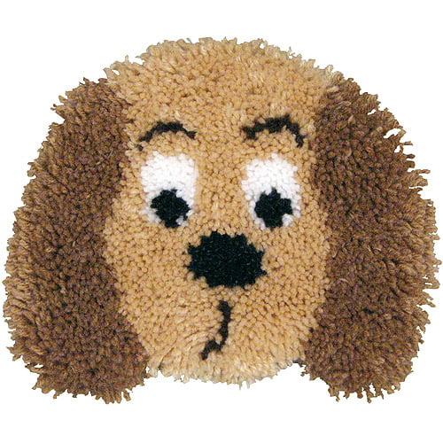 MCG Textiles Huggables Animal Puppy Pillow Latch Hook Kit Multi-Colored