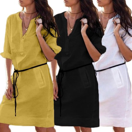 52352c6e2183 Emmababy - 2019 new fashion Women Casual Plain Short Sleeve Midi Dress  Loose Cotton Long Top Shirt Dress Black White Yellow - Walmart.com