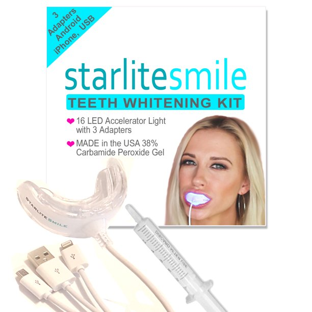 Teeth Whitening Kit With Led Light By Starlite Smile W Made In The Usa 38 Carbamide Peroxide Teeth Whitening Gel Teeth Whitener Walmart Com Walmart Com