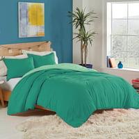 Utica Recycled Microfiber Reversible Comforter Set, Green, Twin/Twin XL