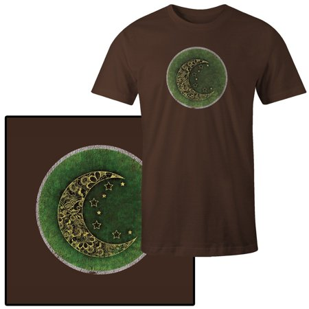 Mens Patterned Crescent Moon With Stars On Green T Shirt