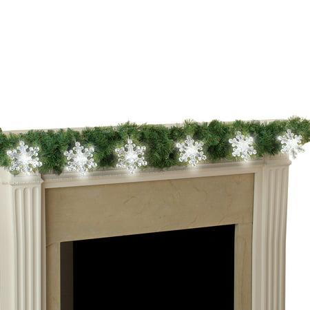 Large Acrylic LED Christmas Snowflake Light String Battery - Acrylic Snowflakes