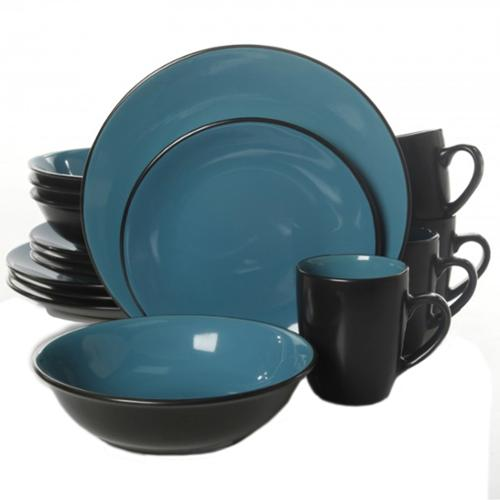 Gibson Vivendi 2 Tone 16pc Dinnerware Set Black/Turquoise