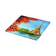 Paris Cutting Board, Autumn Eiffel Tower France European Design Oil Paintign Fine Art Illustration, Decorative Tempered Glass Cutting and Serving Board, in 3 Sizes, by Ambesonne