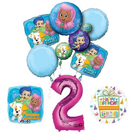 Bubble Guppies 2nd Birthday Party Supplies and Balloon Bouquet Decorations - Bubble Guppies Party Decor
