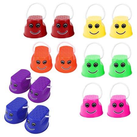 Funny Plastic Children Kids Outdoor Fun Walk Stilt Jump Smile Face Pattern Sports Balance Training Toy Best Gift - image 4 de 7