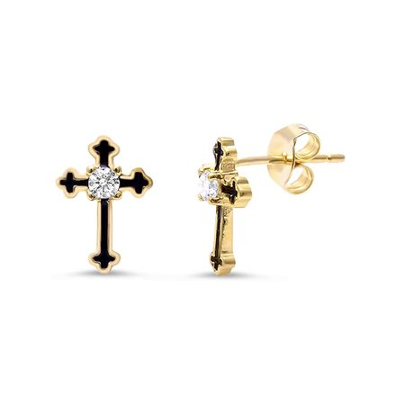 DTLA Sterling Silver Cross Earrings with Black Enamel Inlay - Yellow Gold Plated
