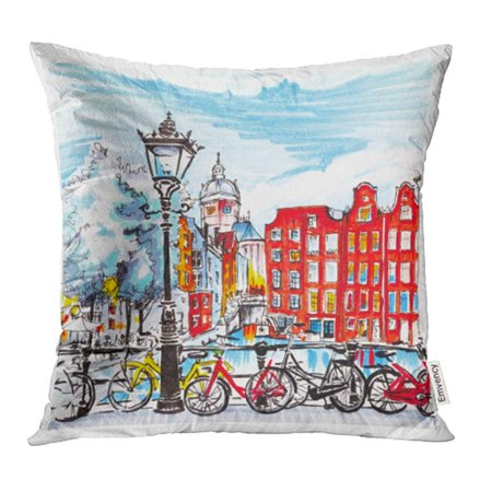 YWOTA Black Bike Color Hand Drawing City View of Amsterdam Typical Houses Holland Netherlands Made Markers Red Pillow Cases Cushion Cover 20x20