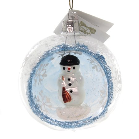 2.5 Inch Snowman Bell Ornament - Golden Bell Collection SNOWMAN IN CLEAR GLASS BALL Snowflake Ornament Bm1125