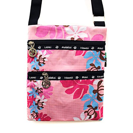 Hawaiian Print Light Weight Cross body Bag Passport Bag in Turtle and Floral Line Pink