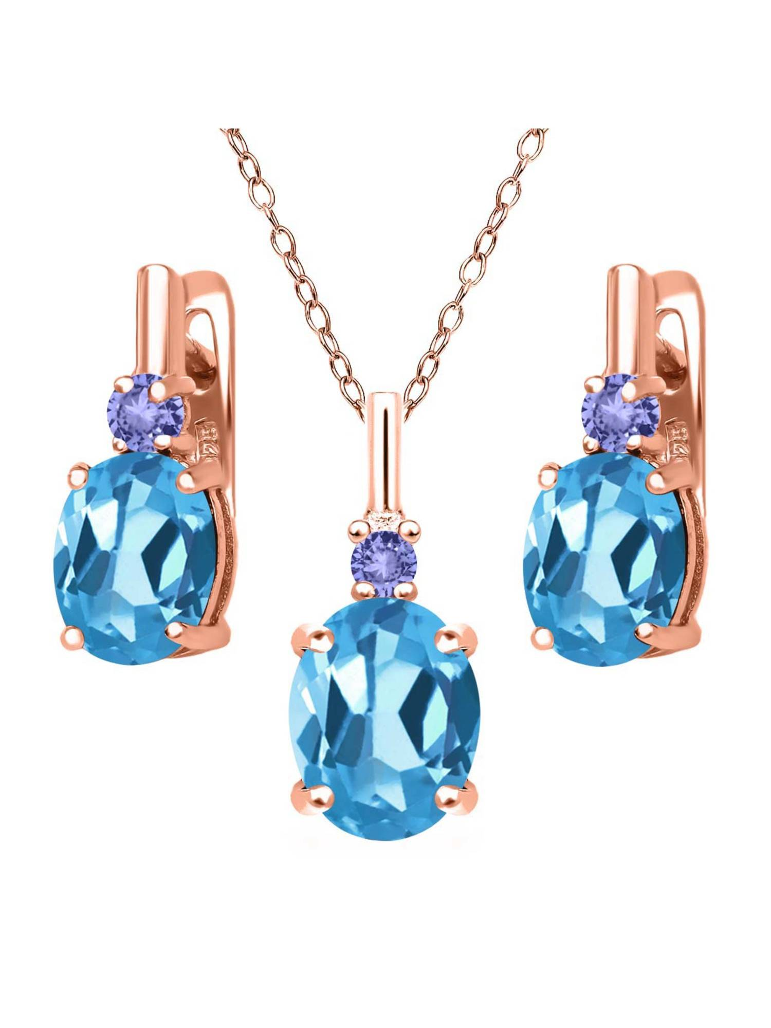 6.68 Ct Swiss Blue Topaz Blue Tanzanite 18K Rose Gold Plated Silver Pendant Earrings Set by