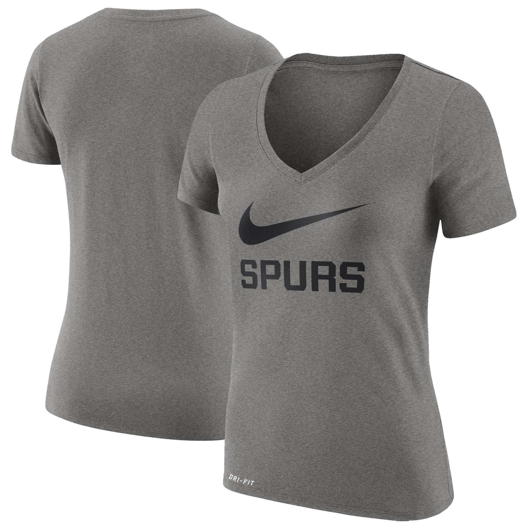 San Antonio Spurs Nike Women's Swoosh V-Neck T-Shirt - Gray