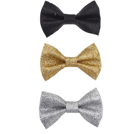 Lux Accessories Black Silver Gold Tone Spray Glitter Multi Bow Clip Pack -