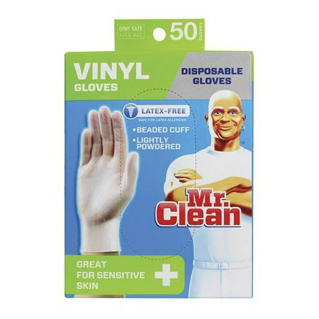 Mr Clean Gloves Latex Disposable All Purpose White Gloves 50 Count