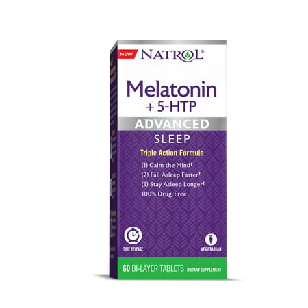 Natrol Advanced Sleep Melatonin + 5 HTP Bi-Layer Tablets, 60