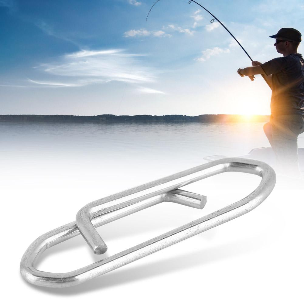 100pcs Steel Fishing Safety Snaps Clip Interlock Line Terminal Tackle Accessory