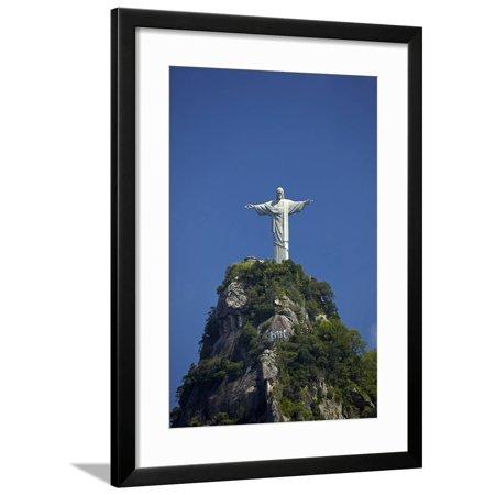 Giant statue of Christ the Redeemer atop Corcovado, Rio de Janeiro, Brazil Framed Print Wall Art By David Wall Christ The Redeemer Statue Rio