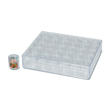 Darice Clear Plastic Bead Container with 30 Small Storage Canisters