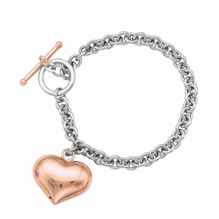Ladies Sterling Silver 6mm Rolo Link Chain Necklace with Rose Finish Heart Charm Toggle Clasp, 18