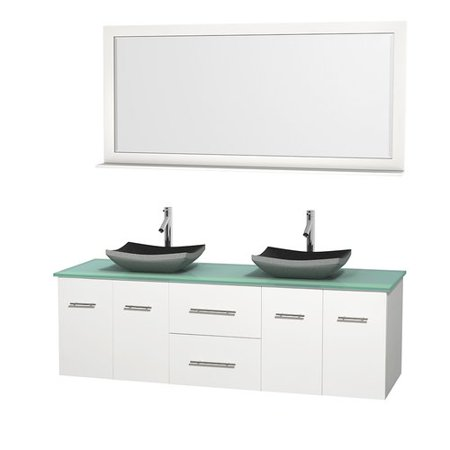 Wyndham Collection Centra 72 inch Double Bathroom Vanity in Matte White,  Green Glass Countertop, Altair Black Granite Sinks, and 70 inch Mirror