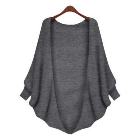 Womens Batwing Coat Sweatshirt Cardigan Sweater Long Sleeve Outwear Blouse Pullover Tops Casual