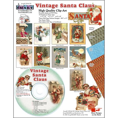 ScrapSMART Vintage Santa Claus CD-ROM, Clip-Art Images for Scrapbook, Craft, Sewing