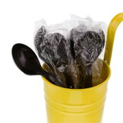 CiboWares Heavyweight Individually Wrapped and Disposable Black Soup Spoons, Package of 1000