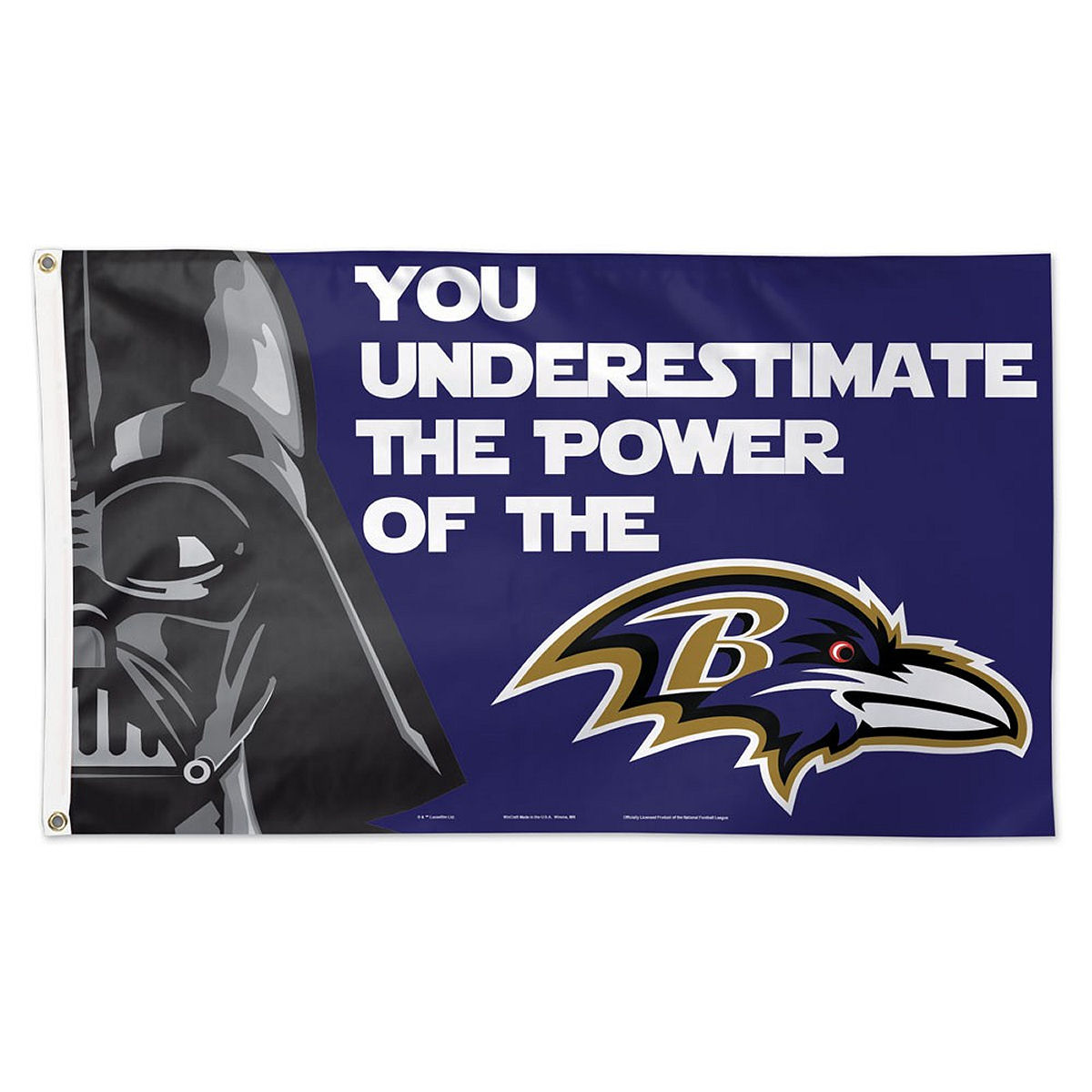 Baltimore Ravens Official NFL 3' x 5' Star Wars Darth Vader Banner Flag by Wincraft