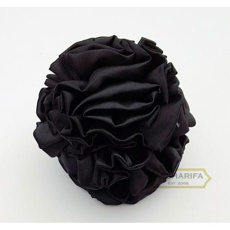 Volumizer Khaleeji Hair Flower Clip | Shabasa | Medium Size with Durable Claw / Clamp | MED-CLASSIC | BLACK