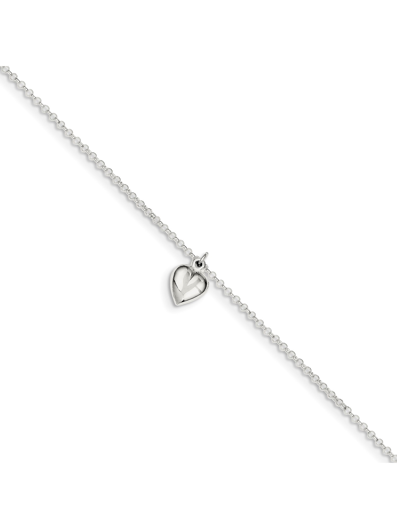 Bonyak Jewelry Sterling Silver Polished CZ Bow 9in w//1Ext Anklet