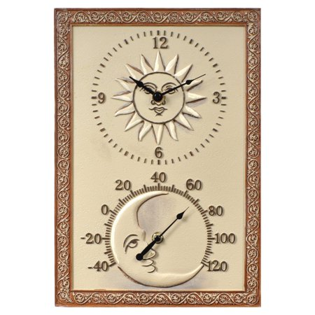 Sun & Moon 10 in. Wide Thermometer Wall Clock
